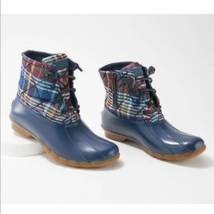 Sperry Quilted Wool Saltwater Duck Boots - Plaid